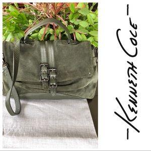 KENNETH COLE Green Leather Suede Satchel Handbag